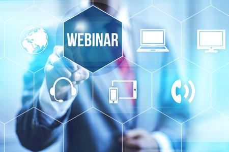 webinar: Webinar online concept pointing finger Stock Photo