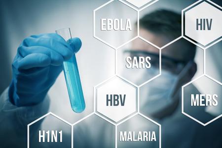 Medisch onderzoek en scheikunde op zoek om ziekten te genezen