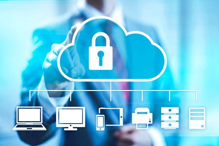 Cloud computing concept man selecting virtual interface Standard-Bild