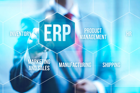 business software: ERP computer software concept businessman selecting interface