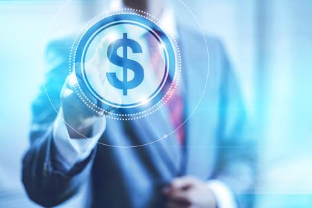 Businessman pointing towards camera selecting dollar, virtual interface