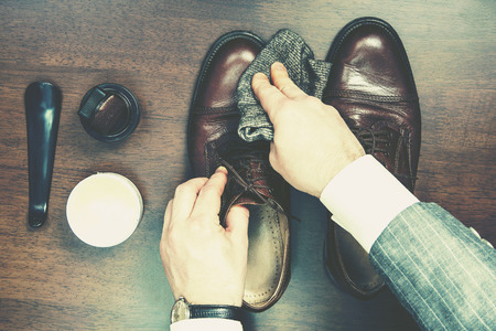 Formal business men leather shoes shining Stock Photo