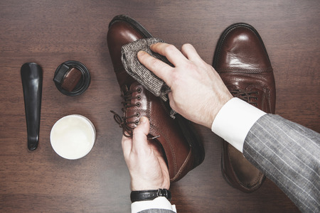 formal clothing: Formal business men leather shoes shining