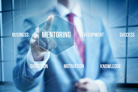 mentoring: Business mentoring concept, businessman selecting interface Stock Photo