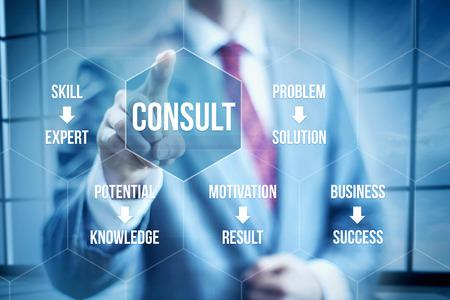 Business consulting concept, businessman selecting interface Foto de archivo