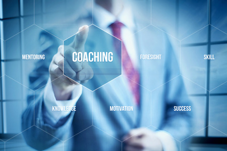 B usiness coaching concept, businessman selecting interface