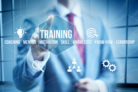 Business mentoring concept, businessman selecting interface Foto de archivo