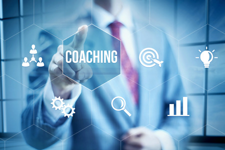 Business coaching concept, businessman selecting interface
