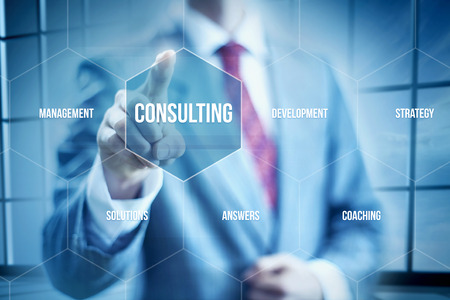 success strategy: Business consulting concept, businessman selecting interface Stock Photo