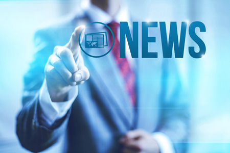 breaking news: News concept word illustration headline background Stock Photo