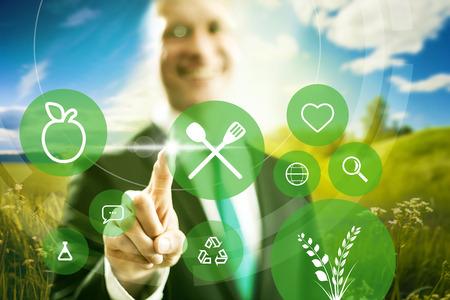 食べ物: 食品産業ときれいなビジネス概念図を食べる