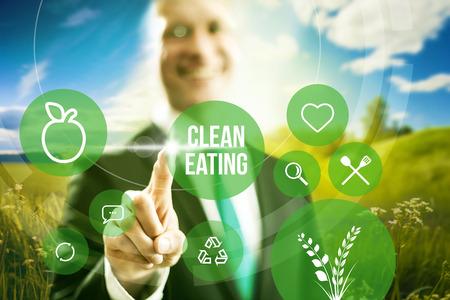 Voedingsindustrie en schoon eten zakelijk concept illustratie Stockfoto