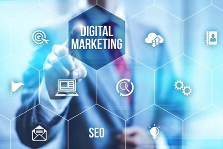 Interactive digital marketing channels illustration Stockfoto