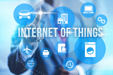 Future of internet UI concept of internet of things IOT Stock Photo
