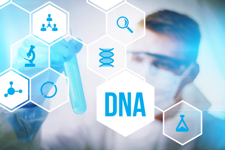 deoxyribonucleic: DNA molecule research or forensic science use. Stock Photo