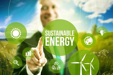 energías renovables: La energía sostenible renovable modelos de negocio concepto. Foto de archivo