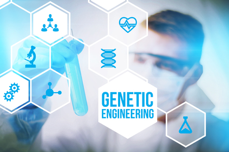 engineered: Genetic engineering research concept of human biotech modification and gene therapy. Stock Photo