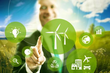 eficiencia: La energía eólica y el modelo de negocio de la energía concepto.