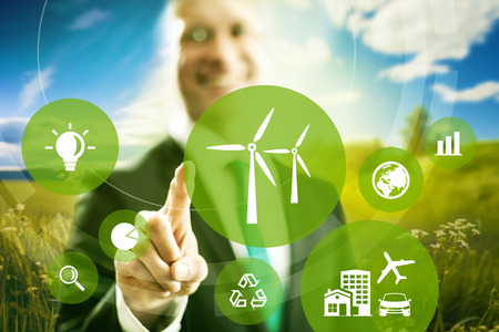 wind farm: Wind energy and power business model concept.