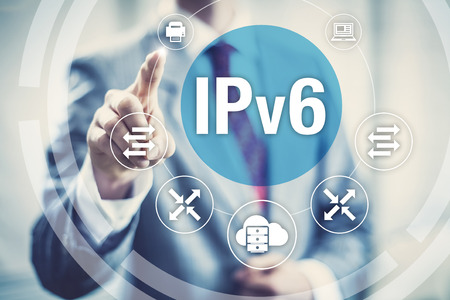 ip address: New IPv6 Internet Protocol larger address space for connected devices on network. Stock Photo