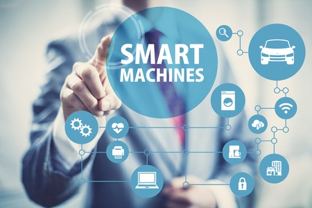 machine: Smart machines concept image of intelligent devices and network. Stock Photo