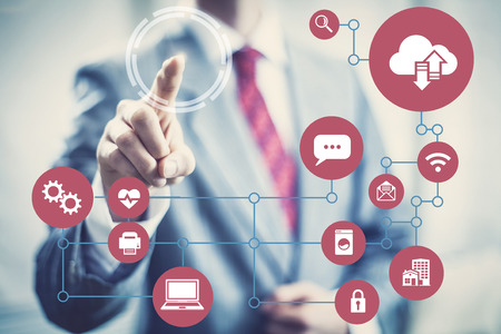 tecnologia: Tecnologia futura architettura di rete concetto di immagine di dispositivi.
