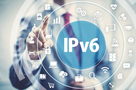 internet icons: New IPv6 Internet Protocol larger address space for connected devices on network. Stock Photo