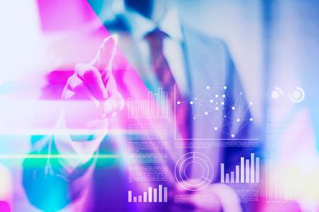 Vibrant business concept duotone illustration of a anonymous businessman