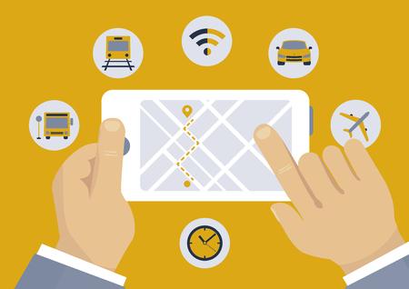 Navigation direction mobile application concept illustration