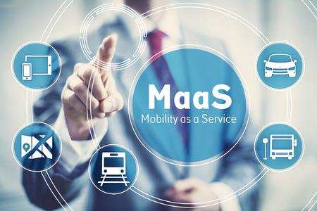 Maas, 서비스 시작 비즈니스 개념 그림으로 이동성 스톡 콘텐츠