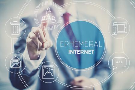Ephemeral internet illustration, temporary short-lived content