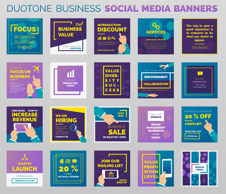 Duotone styled social media banners and post templates. Outlined vector design, easy to edit.