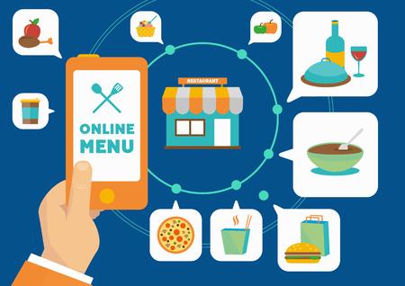 Internet application for ordering different food online from restaurant menu vector illustration.