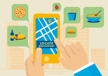 Finding lunch restaurants with smartphone map application from city vector illustration.