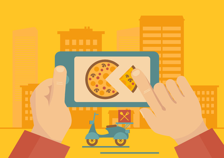 Man ordering online pizza delivery with mobile phone application vector illustration.