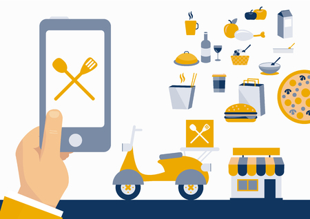 Business man illustration ordering fast food with online mobile application vector illustration.