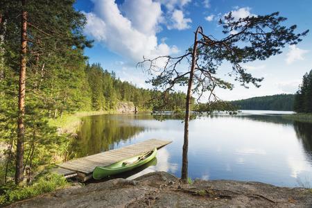 Beautiful canoeing scene at Tervajarvi lake from national park Repovesi, Kouvola, Finland