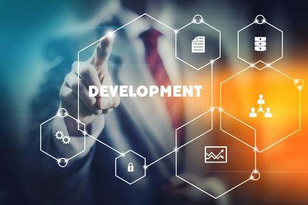 Developer concept image aoubt rapid and modern program and app development