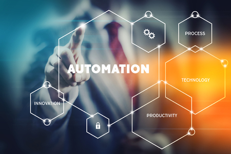Business leader presenting modern automation tools to increase profit and productivity 스톡 콘텐츠 - 118926889