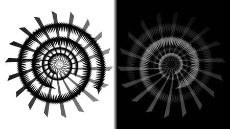 Black and white vector spirals. Vector