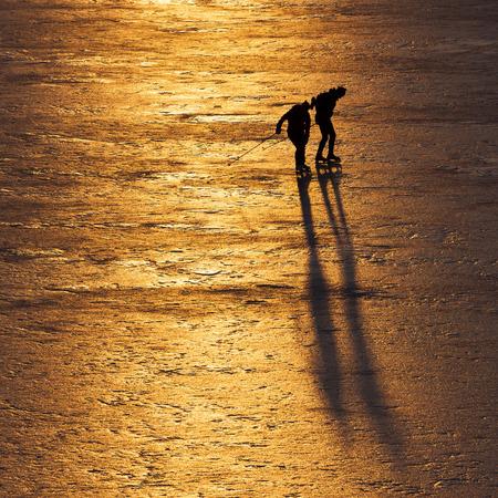 iceskating: Ice-skating by the Baltic sea Stock Photo