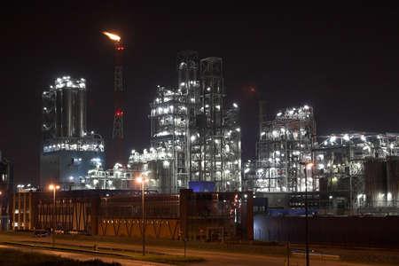 Petrochemical plant in the night - Antwerp port Reklamní fotografie