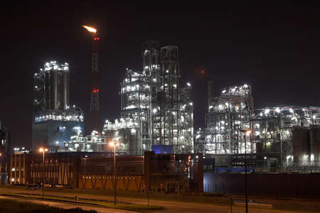 Petrochemical plant in the night - Antwerp port Stock Photo