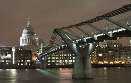 View at Millenium bridge and St. Paul cathedral in London in the night