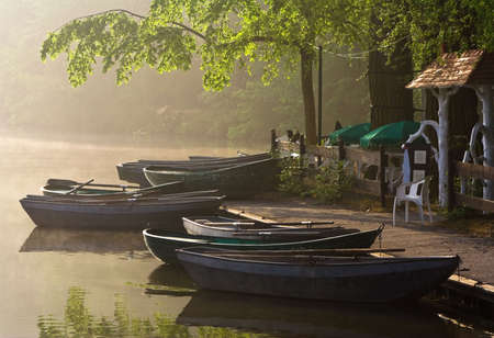 waterside: Boats at a waterside cafe in a sunny misty morning Stock Photo