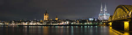 Night panoram of Cologne and river Rhne Stock Photo