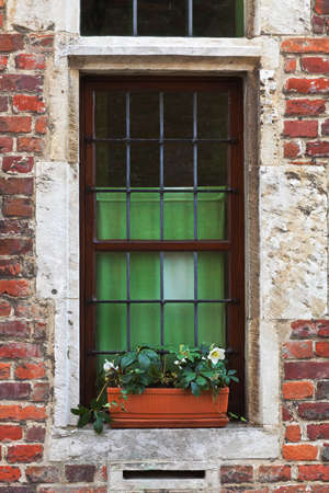 weatherworn: Architecture detail - leaded tracery window in a medieval building