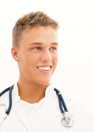 endoscope: Young smiling blond handsome doctor with endoscope