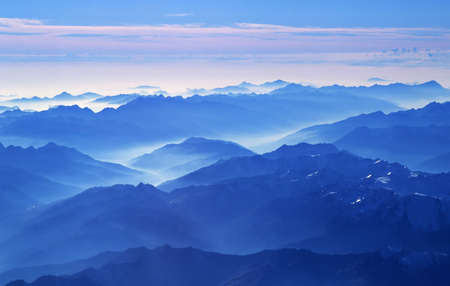 View on Alps from the plane near Innsbruck (Austria).   Stock Photo