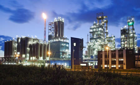 Operational petrochemical plant in twilight (Anwerp port, Belgium) photo